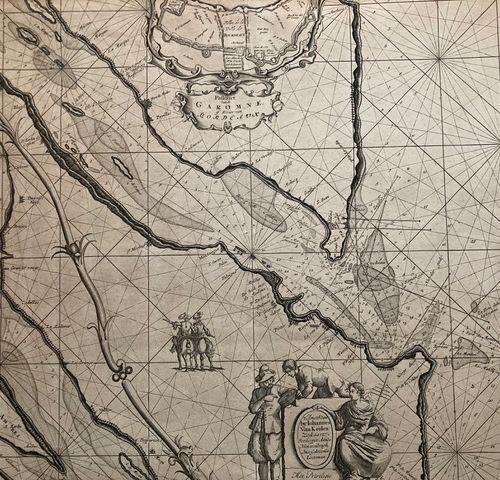 CARTE MARITIME de l'estuaire de la GIRONDE et de la ville de BORDEAUX (33) MEDOC…