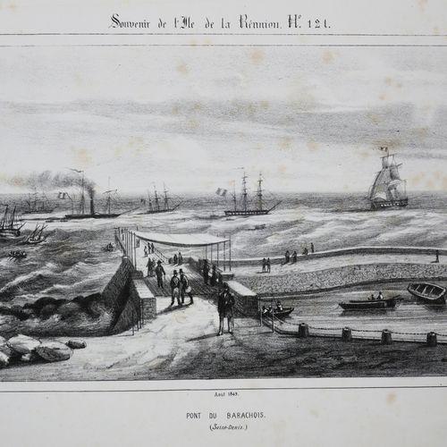 """LA REUNION A. ROUSSIN """"PONT du BARACHOIS (SAINT DENIS)"""". 1849. Lithographie orig…"""