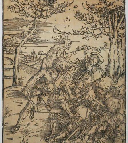 "DÜRER Albrecht (Nüremberg 1471 † 1528) ""Le combat d'Hercule et de Cacus"". C.1496…"