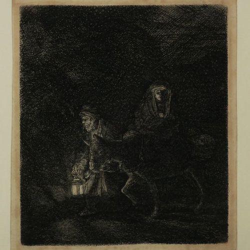 """REMBRANDT Harmenszoon van Rijn (Leyde 1606 † Amsterdam 1669) """"La Fuite en Egypte…"""