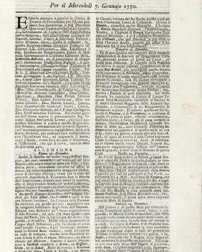 GIORNALI] Ragguaglj di varj paesi. Milan: Malatesta, 1750. Complete year of this…