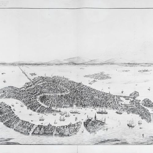 VENICE] Bird's eye view of Venice. Venice: ca. 1850/60]. A fine copy of Matthäus…
