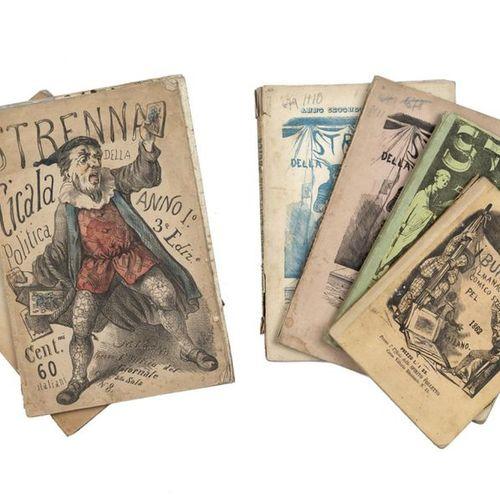 STRENNE] Lot of 7 strennas: I Burattini, almanacco comico strambo pel 1862. Mila…