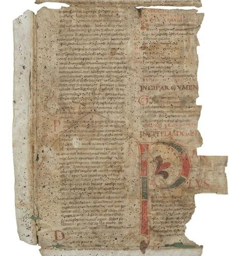 [ATLANTIC BIBLE] Two fragments reused in ancient times as bindings. Central Ital…
