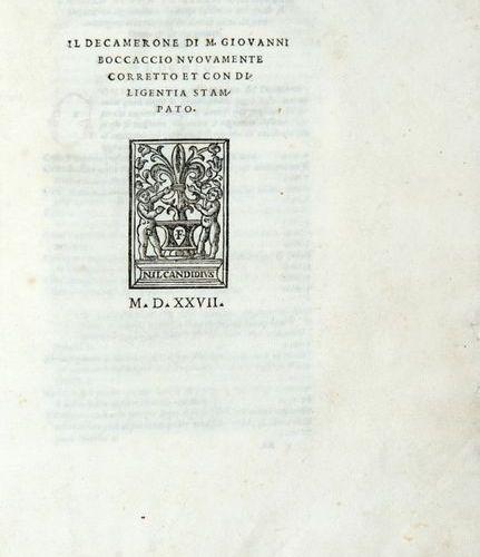 BOCCACCIO, Giovanni (1313 1375) Il Decamerone ... Nuovamente corretto et con dil…