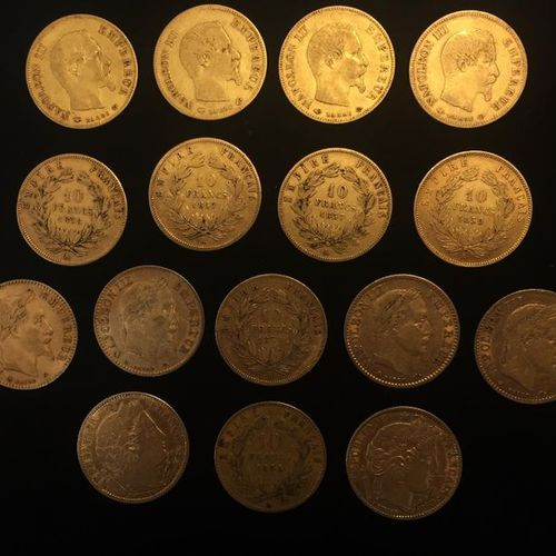 16 pièces en or de 10 FF : 9 x 10 FF Napoléon III tête nue 5 x 10 FF Napoléon II…