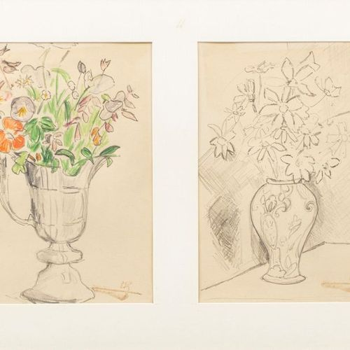 Paul Elie GERNEZ (Valenciennes 1888 1948) Vases of Flowers Two pencil drawings a…
