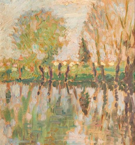 FRENCH school of the XXth century The banks of the Odet, at dawn Oil on cardboar…