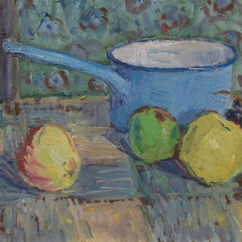 Louis SUE (Paris 1875 1968) Pommes et casserole Huile sur panneau 32,5 x 41 cm S…