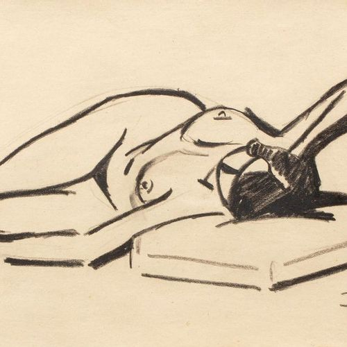 René BESSERVE (1883 1959) Female nude, 1918 Charcoal and black stone on paper 15…