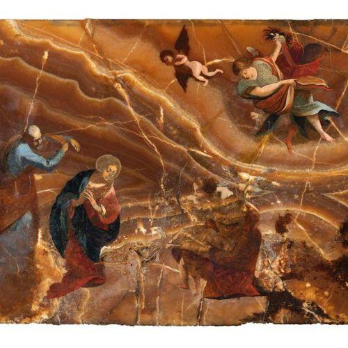 Italian School of the XVIIth century Onyx Adoration 40 x 50 cm Numerous restorat…
