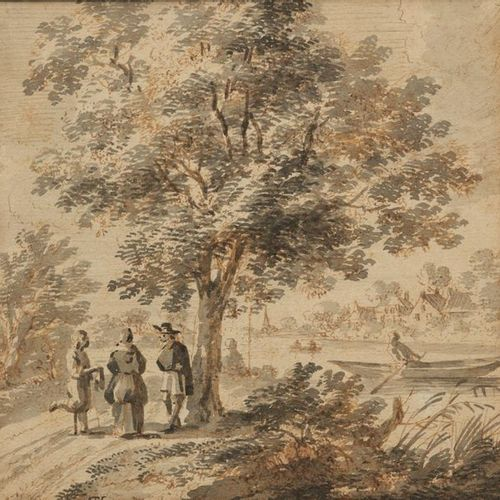NORTH school of the 18th century Animated river landscape Brown ink nib and grey…