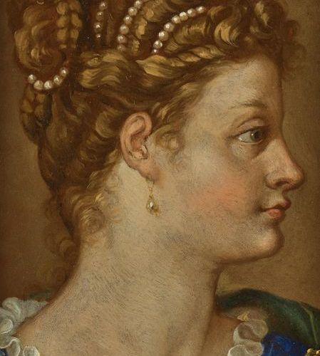 ITALIAN School of the 17th century Woman in profile Copper 19,5 x 14,5 cm