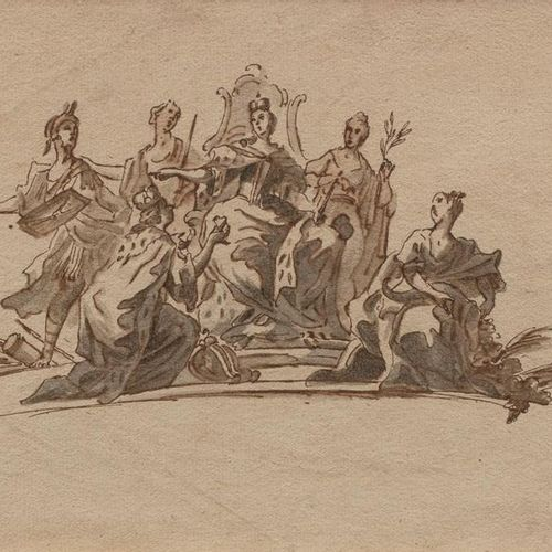 18th century ITALIAN school Queen surrounded by allegorical figures receiving tr…