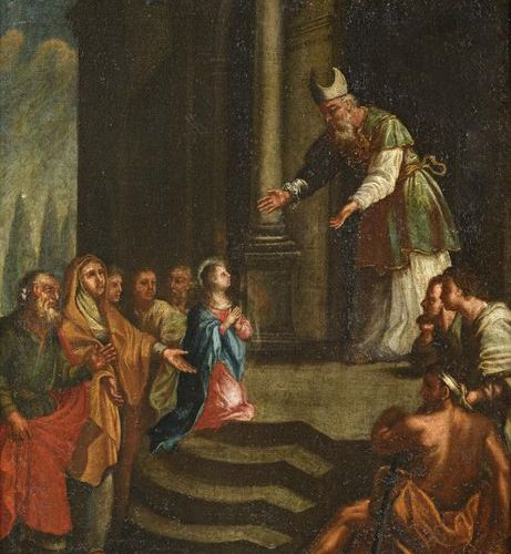 ITALIAN School of the XVIIth century The Presentation of the Virgin in the templ…