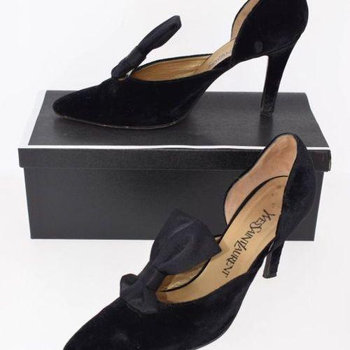 YVES SAINT LAURENT 1990's Two pairs of fuchsia satin and black velvet evening pu…
