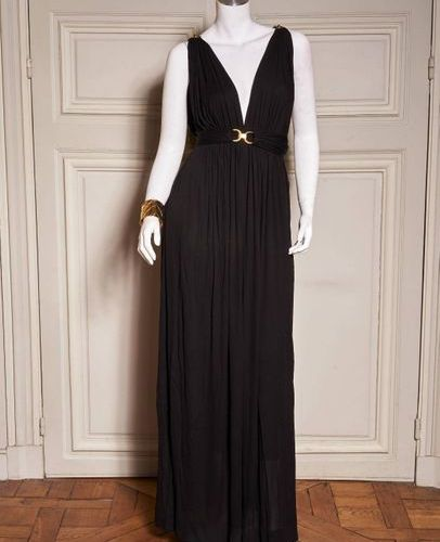 SAINT LAURENT RIVE GAUCHE Automne Hiver 1973/74 Evening dress in black rayon jer…