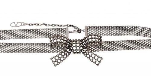 VALENTINO Metal mesh jewelry belt with a rhinestone bow  Dim: 80 cm approx.  Exc…