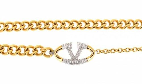 VALENTINO Chain belt in gold plated metal with a strassed buckle  Dim: 80 cm app…