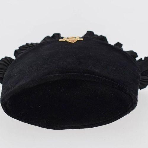 YVES SAINT LAURENT 1990's Evening bag in black velvet, gold metal logo with rhin…