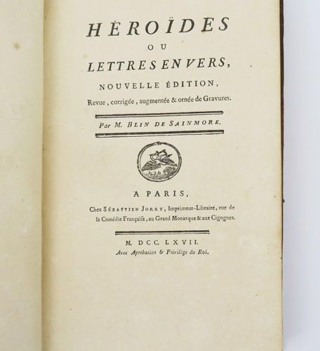 § BLIN DE SAINMORE (Adrien Michel Hyacinthe). Héroïdes ou Lettres en vers, nouve…
