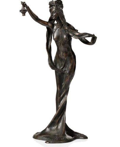 """Louis CHALON, d'après """"Nymphe"""" Sculpture en bronze à patine noire nuancée. Signé…"""