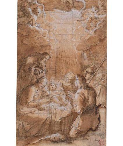 Ecole florentine vers 1600 La Nativité Lavis brun sur traits de crayon noir avec…