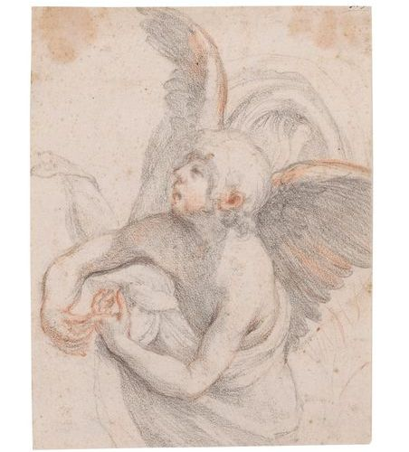 Attributed to Giovanni BILIVERTI (Florence 1576 1644) Angel study Black and bloo…