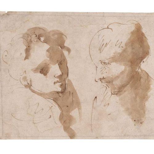 Ecole bolonaise du XVIIème siècle Étude de deux têtes Plume et encre brune, lavi…