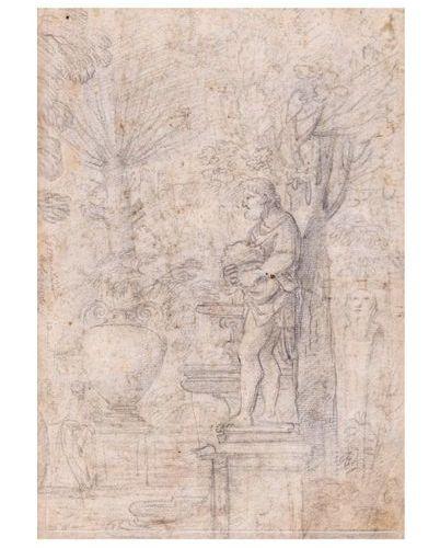 Attribué à Giovanni Francesco GRIMALDI (1606 1680) Recto : paysage animé à la ch…