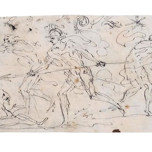 Attributed to Pier Francesco MOLA (Coldrerio 1612 Rome 1666) Studies of three fu…