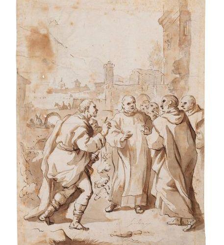 Luca GIORDANO dit « Fra Pesto » (1632 Naples – 1705) Scène de la vie de saint Be…