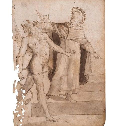 Ecole espagnole du XVIIème siècle Le diable et un saint Plume et encre brune, la…