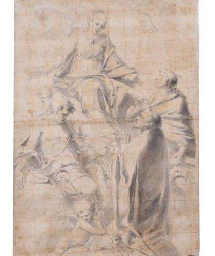 Ecole italienne du XVIIème siècle La Vierge entourée de saint Jean Baptiste, sai…
