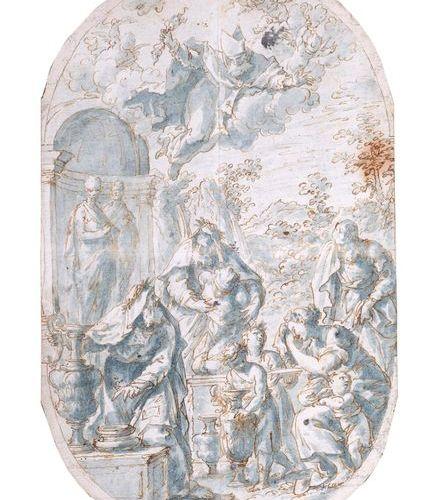 Ecole italienne du XVIIème siècle Scène de sacrifice dans un paysage, Noé ? Plum…