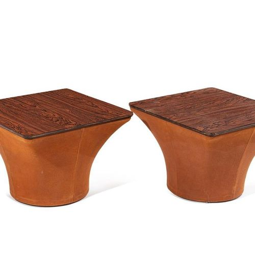"Pierre PAULIN (1927 2009) A pair of ""Mushroom"" side tables by Pierre Paulin, wit…"