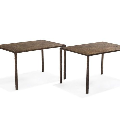 Costa COULENTIANOS (1918 1995) circa 1960 Pair of patinated bronze side tables. …
