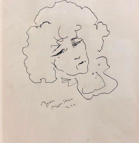 Ecole Française du XXème siècle Portrait de Colette Encre sur papier 29 x 21 cm …