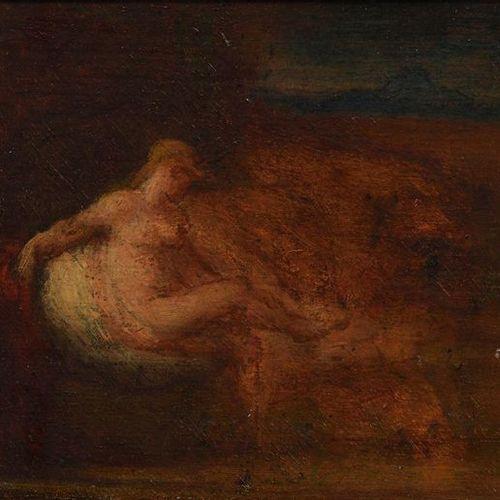 Entourage de Jean Jacques HENNER Minerve Huile sur panneau 13 x 22,5 cm