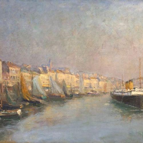 MAGNIEZ (Né en 1868 ?) Bateaux au port (Sète?) Huile sur toile d'origine 81 x 65…