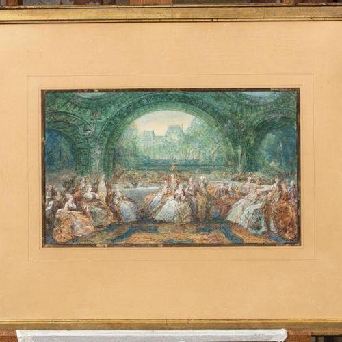 Joseph NAVLET (1821 1889) Réunion d'élégants et élégantes devant les Tuileries A…