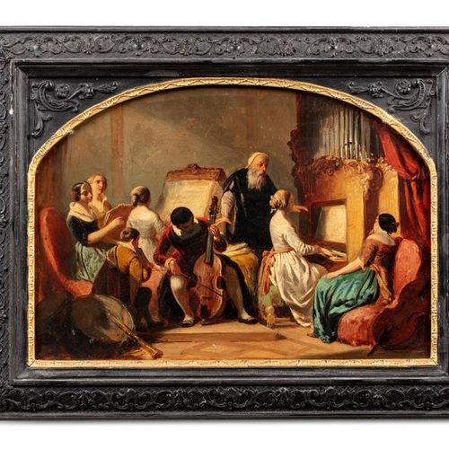 Ecole FRANCAISE du début du XIXème siècle, entourage d'Eugène LAMI Musiciens dan…