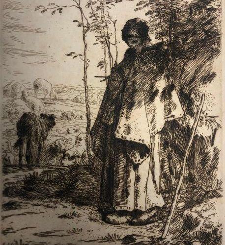 Jean François MILLET (1814 – 1875) La grande Bergère. Eau forte en bistre sur ve…