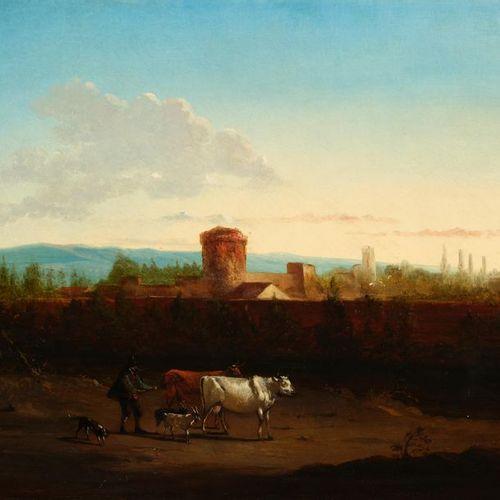 Ecole HOLLANDAISE vers 1840 Berger dans un paysage Panneau de chêne, une planche…