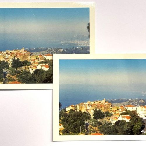 Two postcards with stamps of Monaco and the Principality of Seborga, one of them…