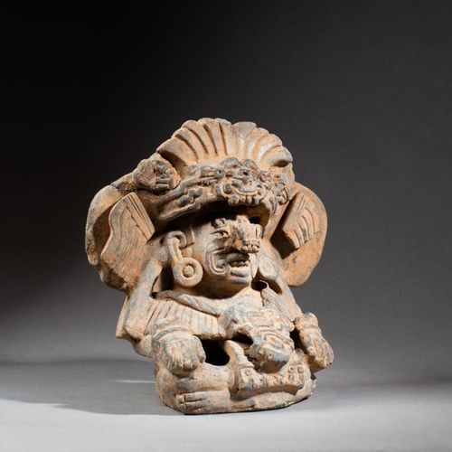 § Beautifully modeled urn of the god of lightning and rain, Cocijo. He is sittin…
