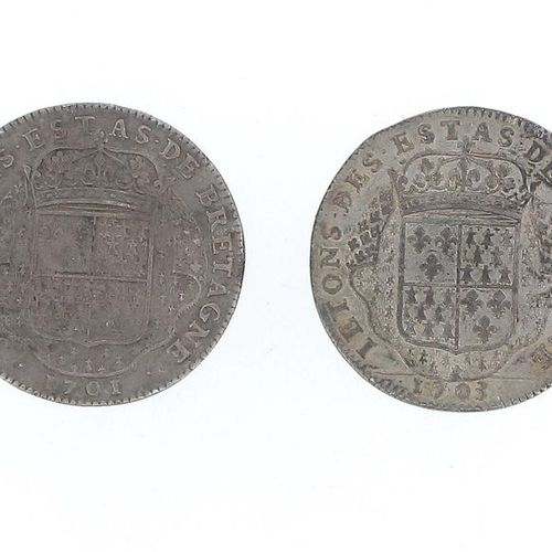FRANCE Louis XIV Set of two silver tokens from the States of Brittany, one from …