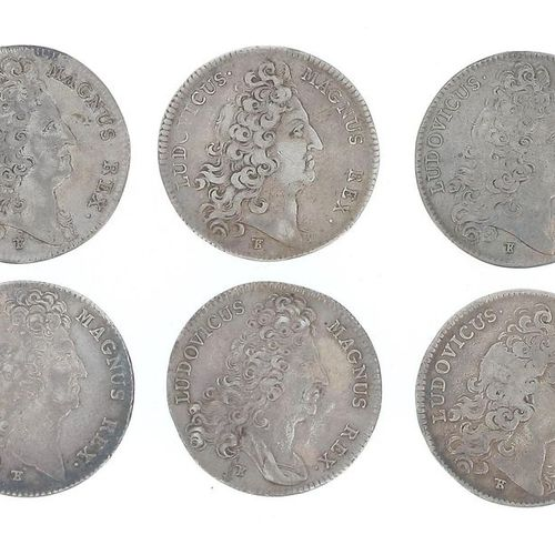 FRANCE Louis XIV Set of six silver tokens from the States of Brittany, including…