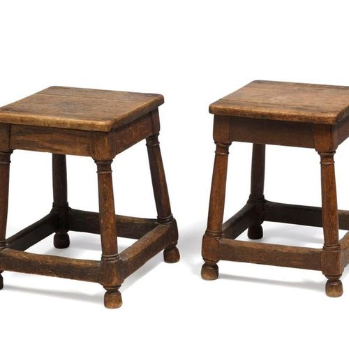 LOT SOLD ON DESIGNATION Pair of stools with square seat resting on column legs j…