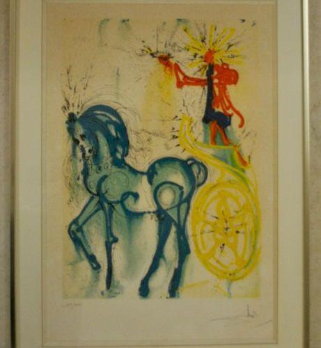 After Salvador DALI Le cheval du triomphe Colour lithograph 52 x 35 cm Numbered …